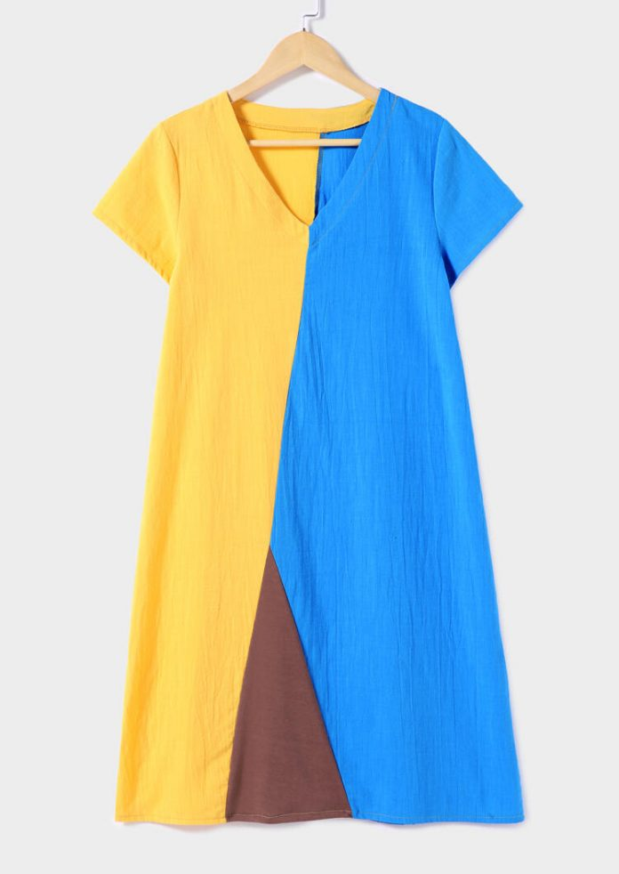 Color Block V-Neck Mini Dress