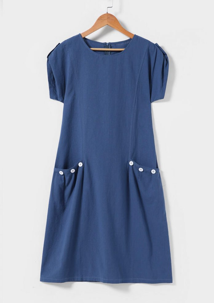 Solid Button Pocket Mini Dress