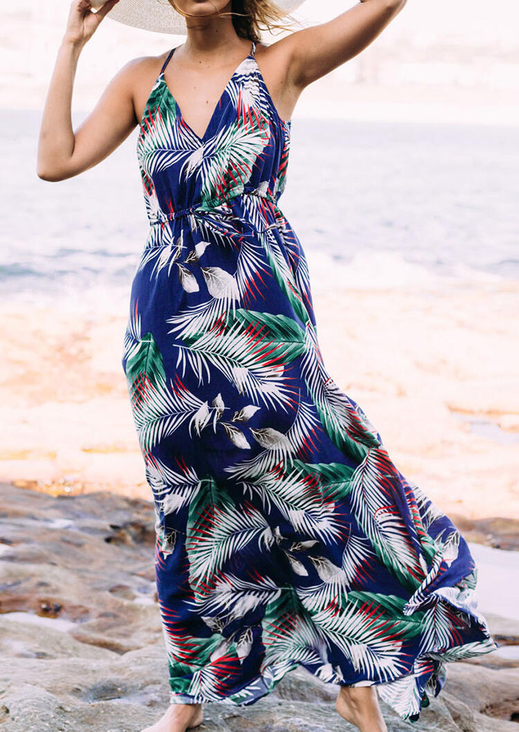 Leaf Deep V-Neck Maxi Dress