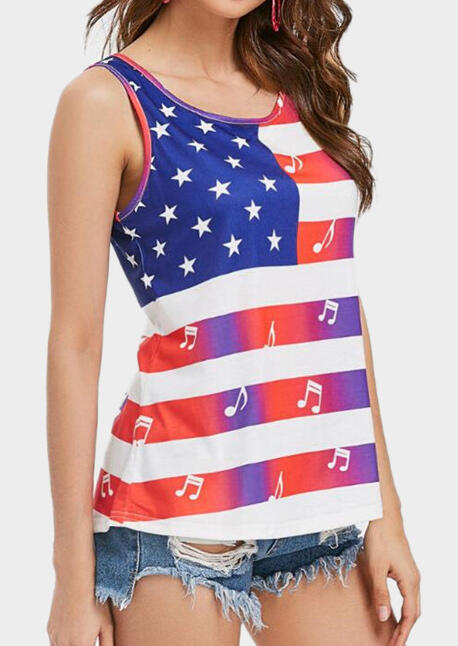 American Flag Musical Note Tank
