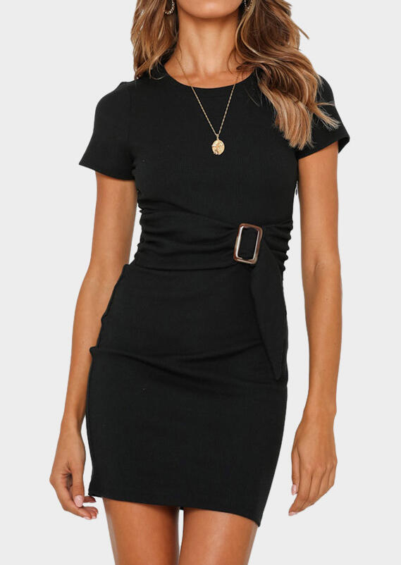 Solid Knitted Bodycon Dress