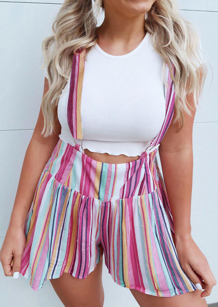 Striped High Waist Overalls