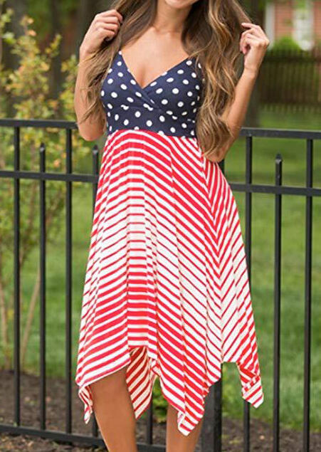 American Flag Asymmetric Sleeveless Casual Dress
