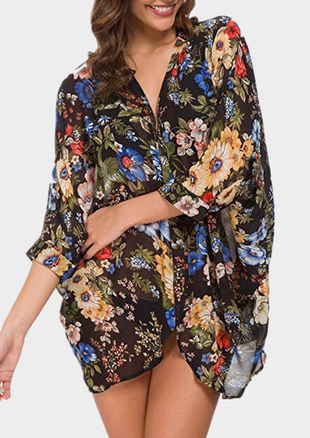 Floral Three Quarter Sleeve Cover Up