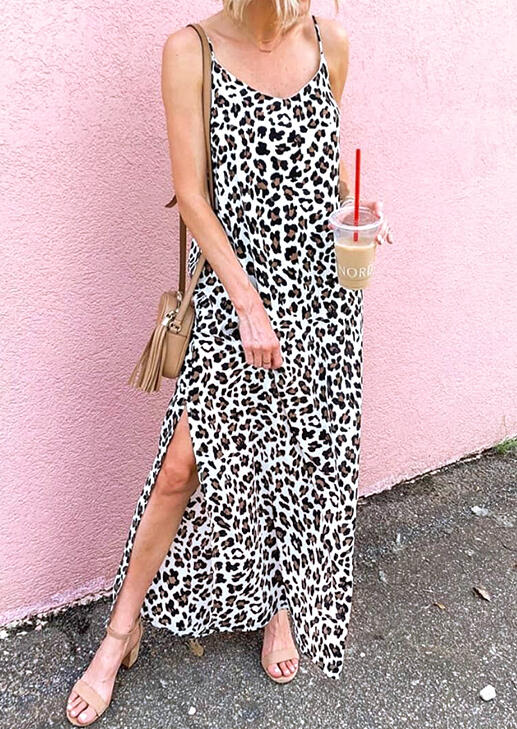 Leopard Printed Slit Spaghetti Strap Casual Dress