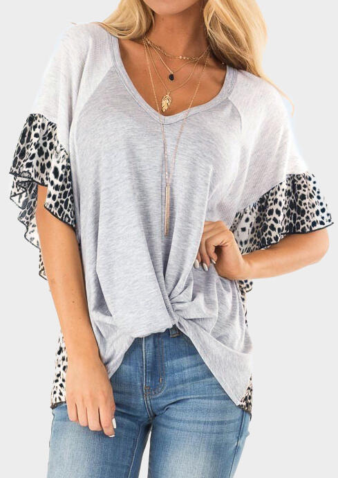 Leopard Printed Splicing Ruffled Blouse