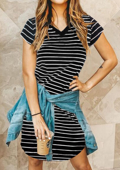 Striped V-Neck Asymmetric Mini Dress