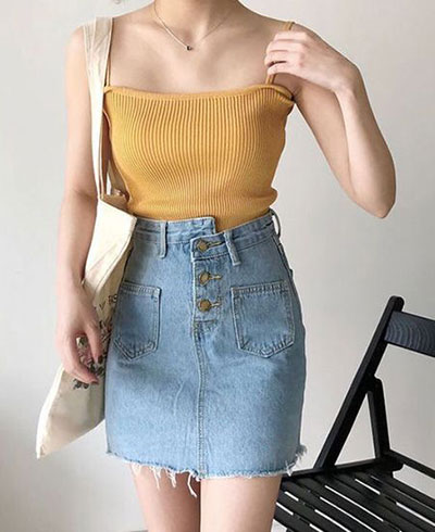 Thin Sling Tops Match With Skirt Clothing Combinations