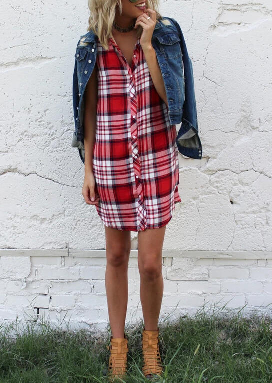 Plaid Button Sleeveless Mini Dress