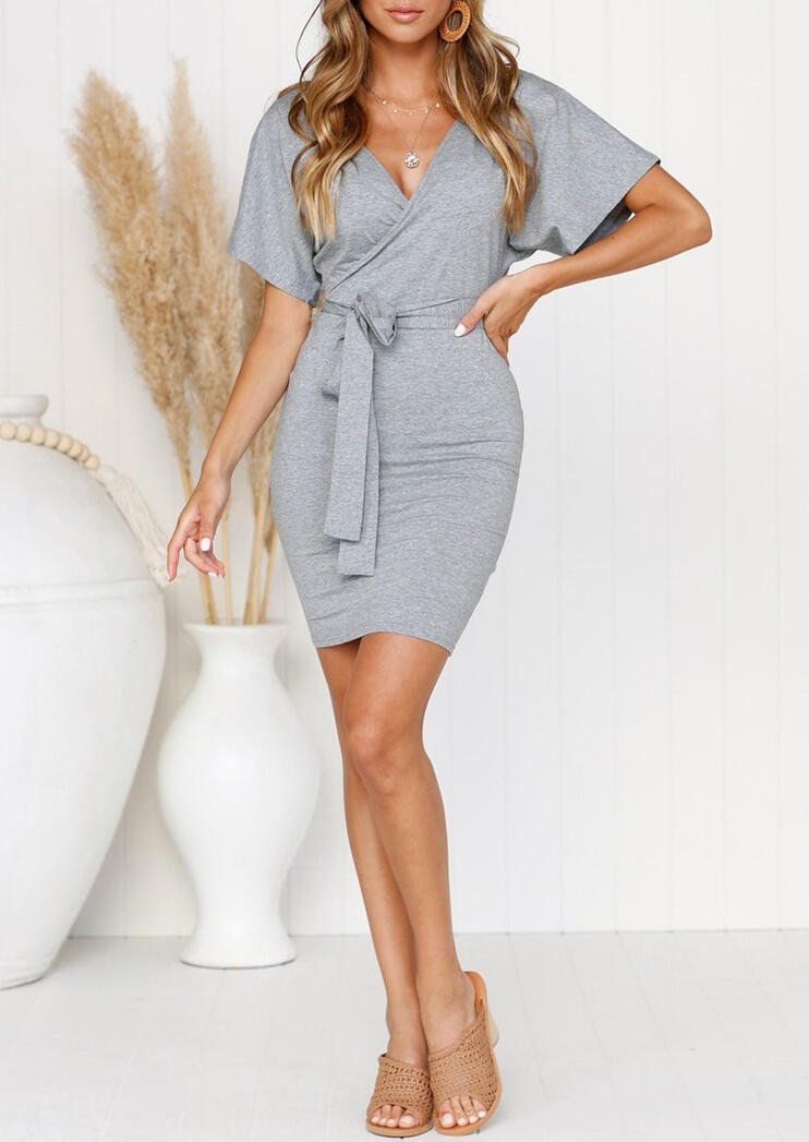 Solid Ruffled Tie Hollow Out Mini Dress