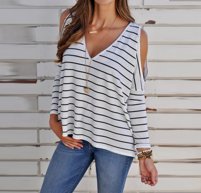 Striped Hollow Out Long Sleeve Blouse