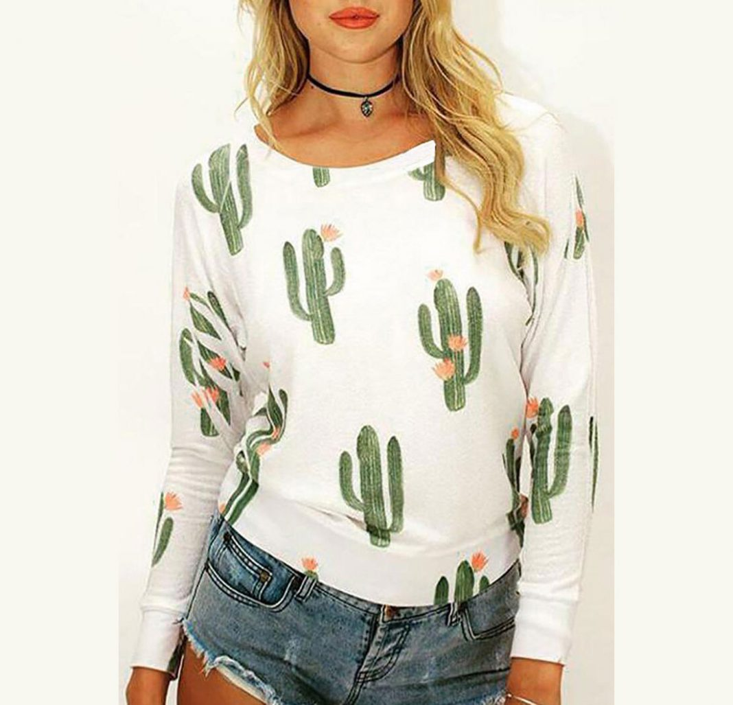Cactus Long Sleeve O-Neck T-Shirt Tee