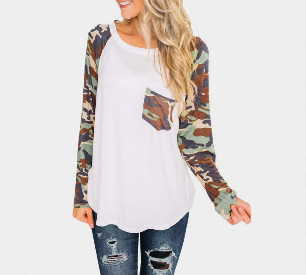Camouflage Printed Splicing Long Sleeve T-Shirt Tee