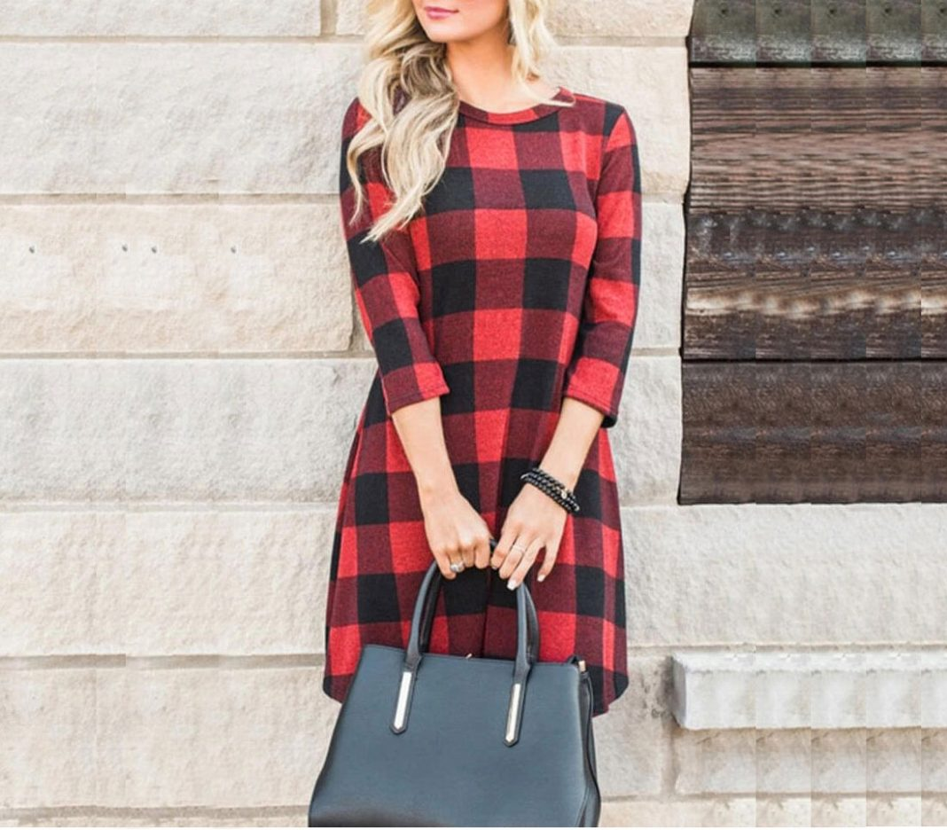 Color Block Plaid Mini Dress