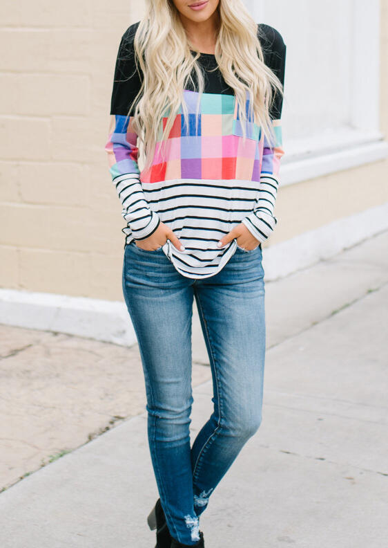 Colorful Plaid Striped Pocket Blouse