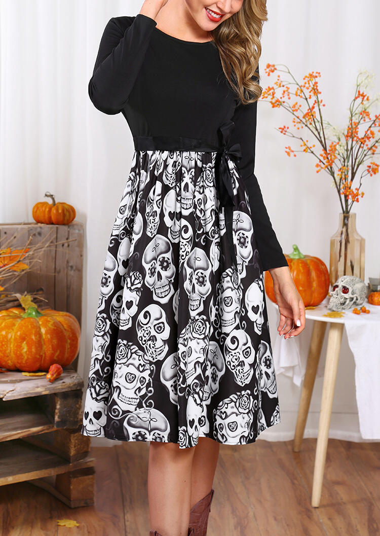 Halloween Skull Ruffled Long Sleeve Casual Dress