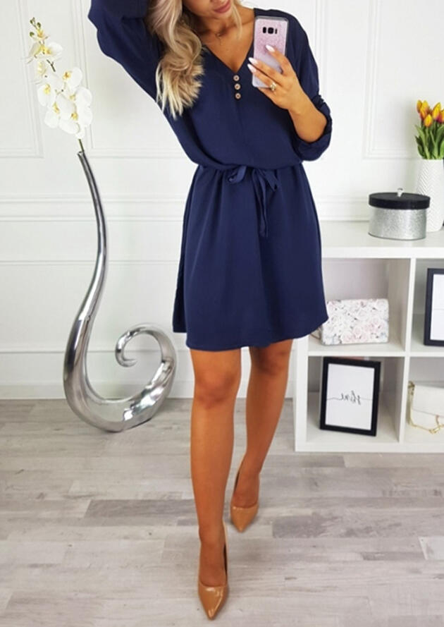 Solid Button Tie Mini Dres
