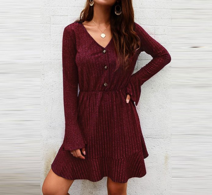 Solid Ruffled Button Flare Sleeve Mini Dress