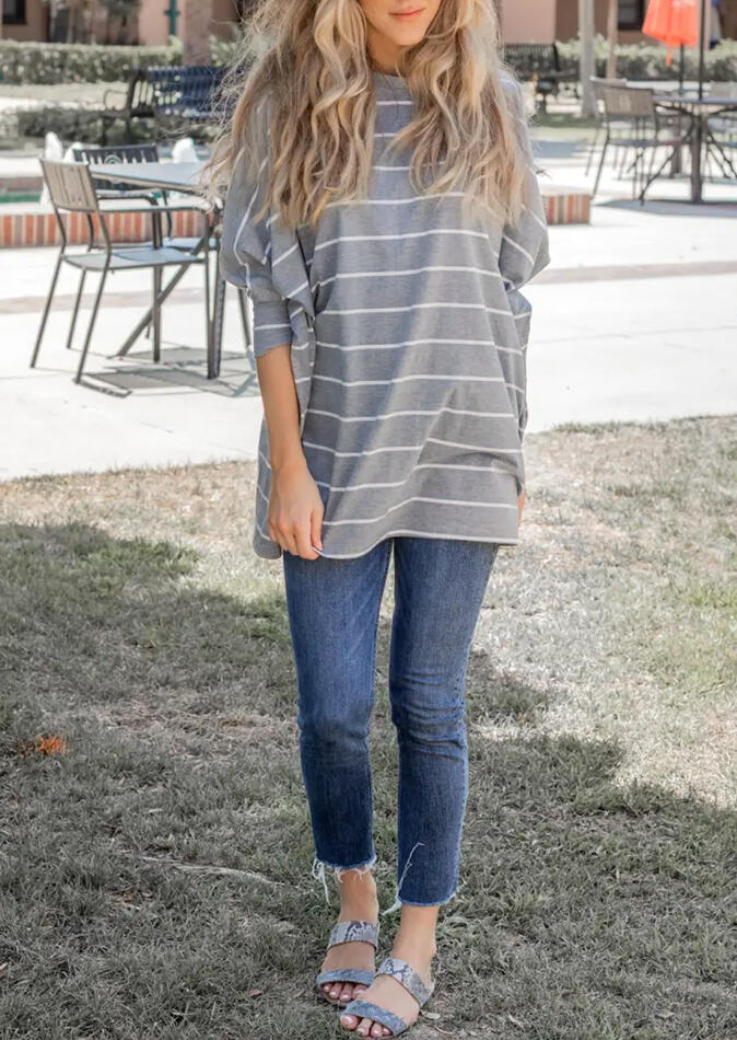 Striped Batwing Sleeve O-Neck Blouse