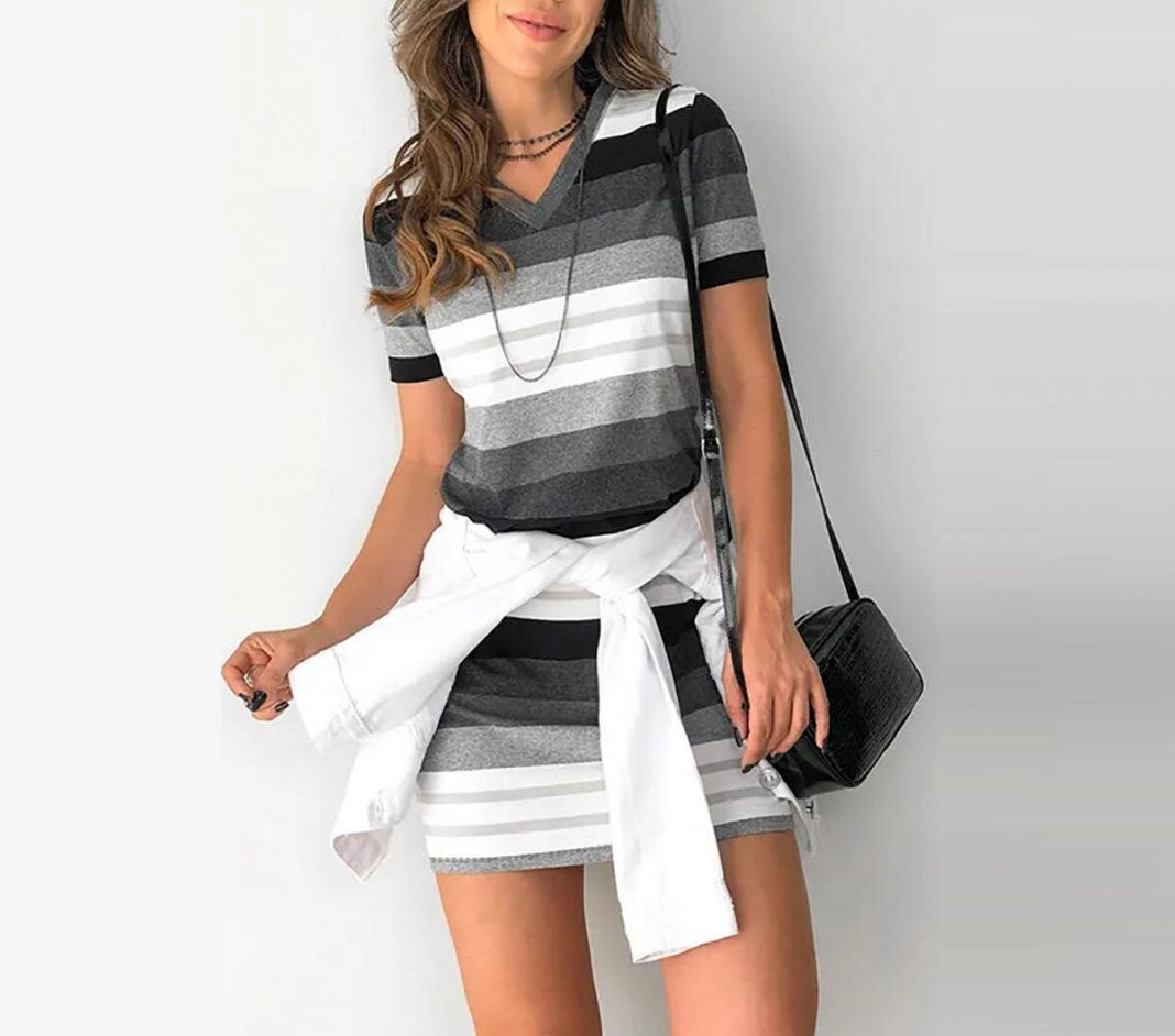 Striped Gradient Color V-Neck Mini Dress