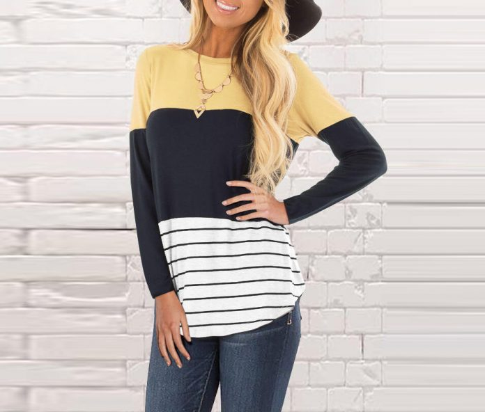 Color Block Striped Lace Long Sleeve Blouse