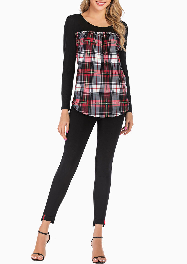 Plaid Splicing Long Sleeve O-Neck Blouse