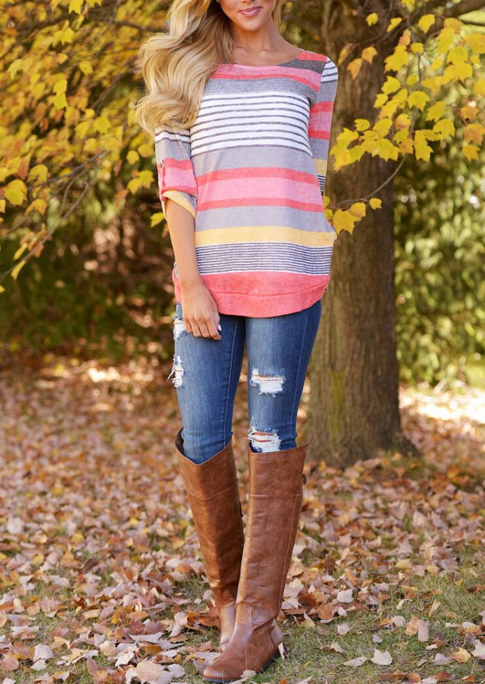 Striped Color Block O-Neck T-Shirt Tee